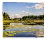 Bay At The Waskesiu Lake With Lily Fleece Blanket