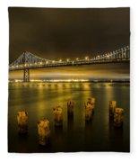 Bay Bridge And Clouds At Night Fleece Blanket