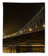 Bay Bridge And Fog  Fleece Blanket