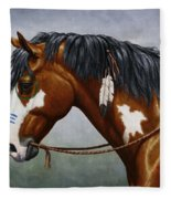 Bay Native American War Horse Fleece Blanket