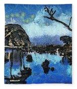 Bay View Morro Bay California Fleece Blanket