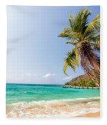 Beach And Palm Tree Fleece Blanket