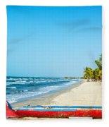 Beach And Red Canoe Fleece Blanket