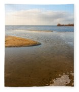 Beach And Rippled Water At The Wadden Sea. Fleece Blanket