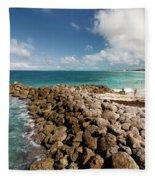 Beach At Atlantis Resort Fleece Blanket
