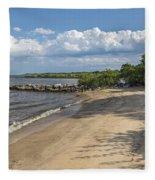 Beach At Ft Smallwood Fleece Blanket