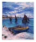 Beach At Sainte Adresse Monet Fleece Blanket