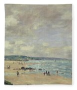 Beach At Trouville Fleece Blanket