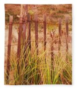 Beach Dune Fence At Cape May Nj Fleece Blanket