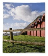 Beach Huts At Branscombe Fleece Blanket