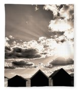 Beach Huts In Black And White Fleece Blanket