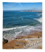 Beach In Resort Town Of Estoril Fleece Blanket