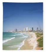 Beach In Tel Aviv Israel Fleece Blanket