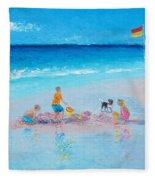 Beach Painting Building Sandcastles By Jan Matson Fleece Blanket