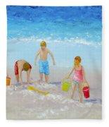 Beach Painting - Sandcastles Fleece Blanket