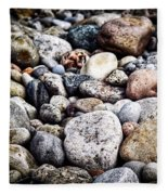 Pebbles On Beach Fleece Blanket