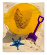 Beach Sand Pail And Shovel Fleece Blanket