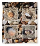 Beach Shells And Rocks Collage Fleece Blanket