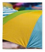 Beach Umbrella Rainbow 1 Fleece Blanket