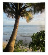 Beach Under The Palm 4 Fleece Blanket