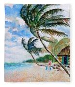 Beach With Palm Trees Fleece Blanket