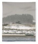 Beached Boat Winter Storm Fleece Blanket