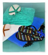 Beachy Things - Aqua Blue Fleece Blanket
