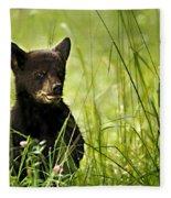 Bear Cub In Clover Fleece Blanket