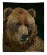 Bear In The Pool Fleece Blanket
