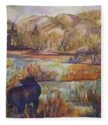 Bear In The Slough Fleece Blanket