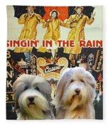 Bearded Collie Art Canvas Print - Singin In The Rain Movie Poster Fleece Blanket