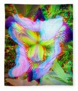 Bearded Iris Cultivar - Use Red-cyan 3d Glasses Fleece Blanket