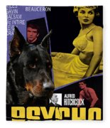 Beauceron Art Canvas Print - Psycho Movie Poster Fleece Blanket