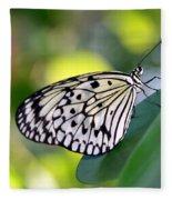 Beautiful Black N White Rice Paper Butterfly Fleece Blanket