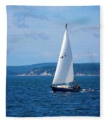 Beautiful Boat Sailing At Puget Sound Fleece Blanket