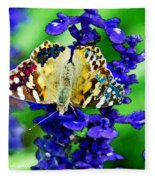 Beautiful Butterfly On A Flower Fleece Blanket