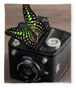 Beautiful Butterfly On A Kodak Brownie Camera Fleece Blanket