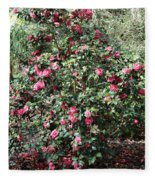 Beautiful Camellia Bush Fleece Blanket