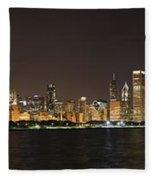 Beautiful Chicago Skyline With Fireworks Fleece Blanket