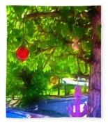 Beautiful Colored Glass Ball Hanging On Tree 1 Fleece Blanket