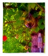 Beautiful Colored Glass Ball Hanging On Tree 2 Fleece Blanket