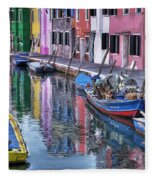 Beautiful Colors Of Burano Fleece Blanket