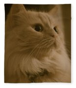 Beautiful Creamy Persian Cat Mix Portrait Fleece Blanket