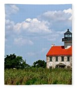 Beautiful Day At East Point Lighthouse  Fleece Blanket