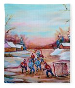 Beautiful Day For Pond Hockey Winter Landscape Painting  Fleece Blanket