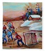 Beautiful Day-pond Hockey-hockey Game-canadian Landscape-winter Scenes-carole Spandau Fleece Blanket