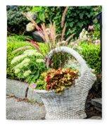 Beautiful Flowers In Basket Fleece Blanket