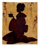 Beautiful Geisha Coffee Painting Fleece Blanket