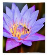Beautiful Lily And Visiting Bee Fleece Blanket