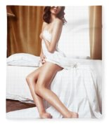 Beautiful Nude Asian Woman Covering With Bed Sheets Fleece Blanket